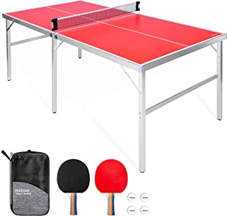 GoSports 6' x 3' Mid-Size Table Tennis Game Set | Indoor / Outdoor Portable Table..