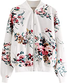 ROMWE Women's Casual Floral Print Zip Up Lightweight Bomber Jacket