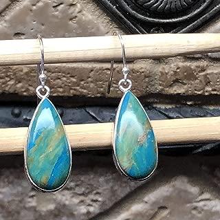 Natural Blue Peruvian Opal 925 Sterling Silver Earrings 35mm