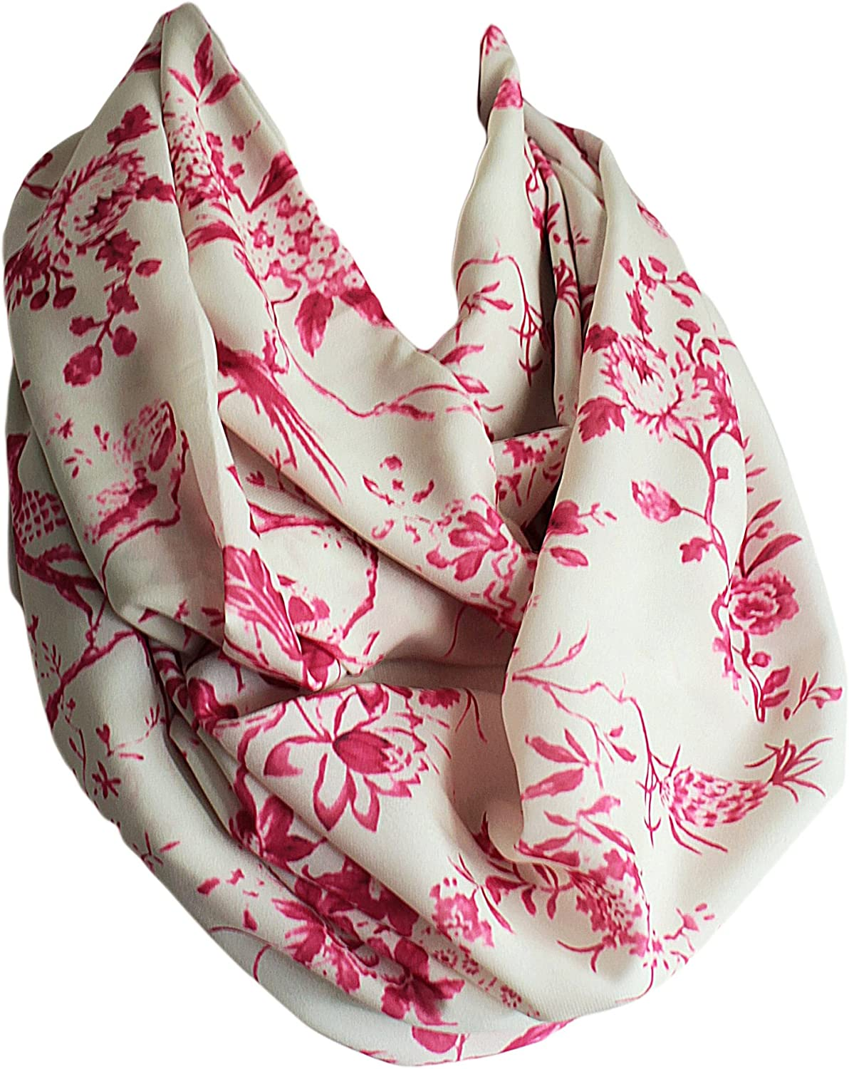 Etwoa's Birds and Floral Print Infinity Scarf Circle Loop Scarf
