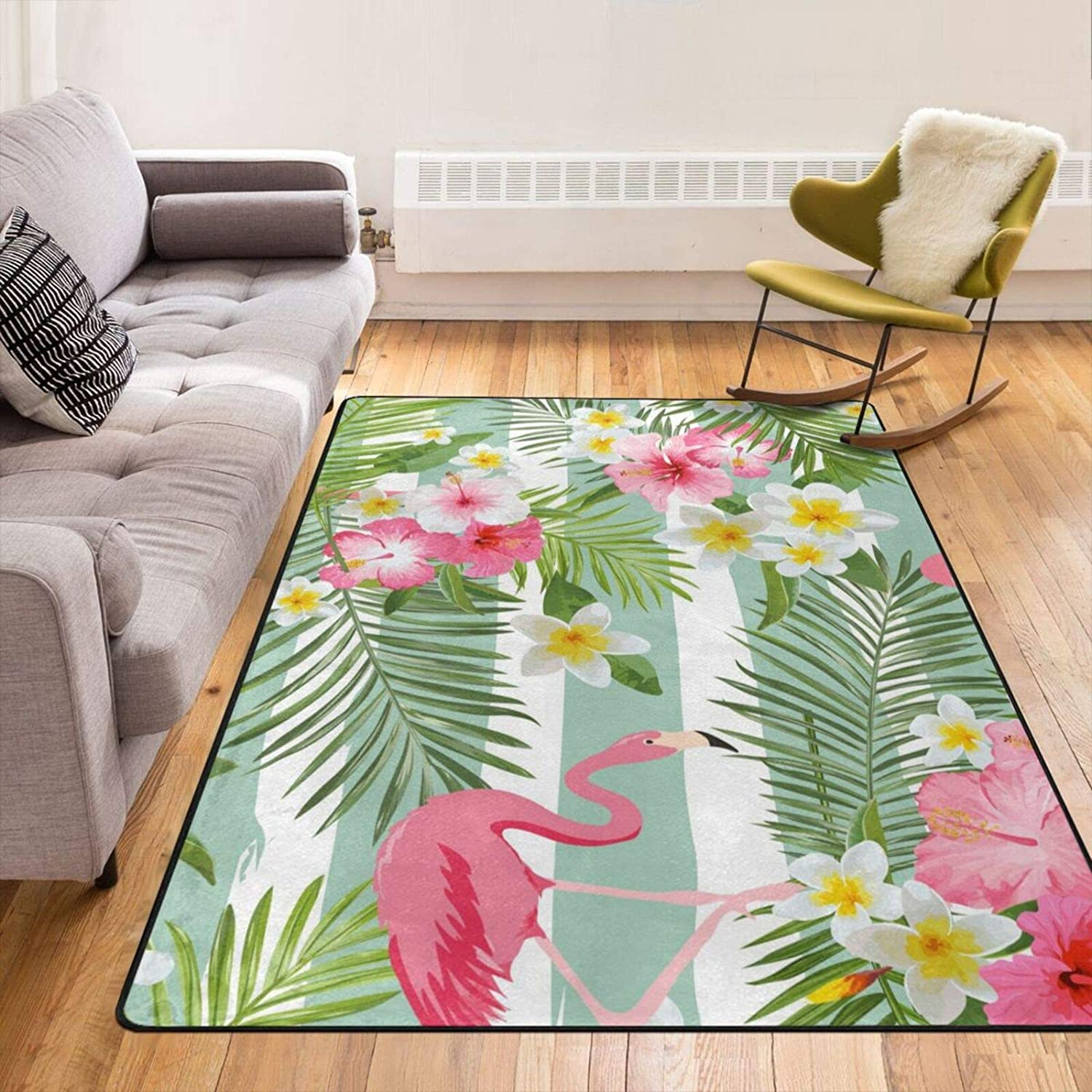 Flamingo Tropical Flower 低価格 Area Rugs Carpet Thick 売り出し Rug fo Pad
