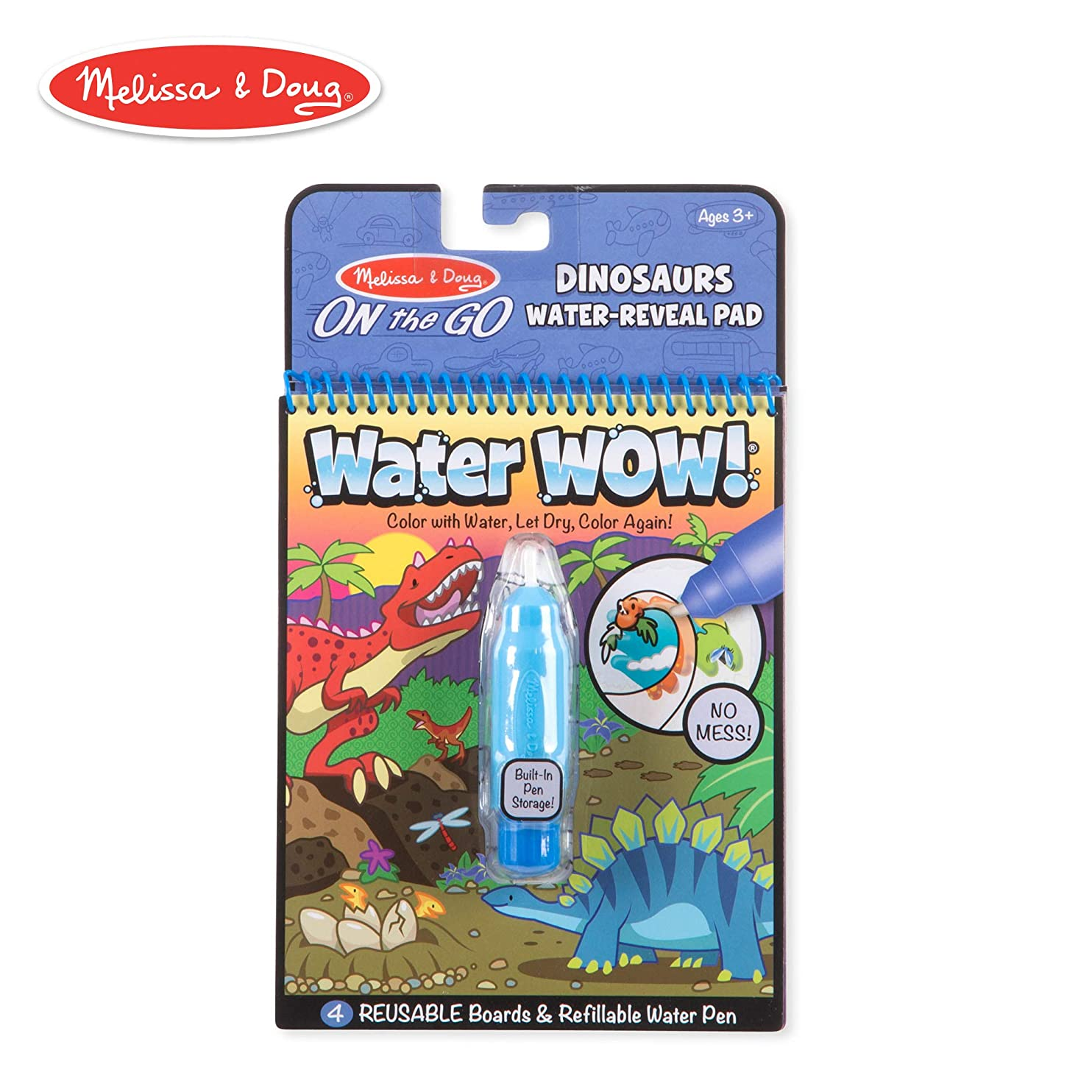 Melissa & Doug On The Go Water Wow! Dinosaurs Reusable Water-Reveal Activity Pad, Chunky-Size Water Pen wfiwsznlmex18
