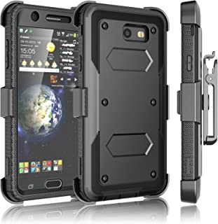 Tekcoo Galaxy J7 Sky Pro Case, Tekcoo Galaxy J7 V/J7V/J7 Perx Holster Clip, [TShell] [Built-in Screen] Locking Secure Swivel Belt Kickstand Phone Cover Full Body Case Cover For Samsung J7 2017 [Black]