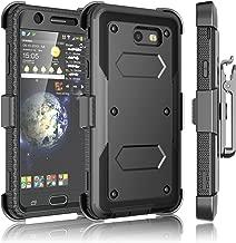 Tekcoo Galaxy J7 Sky Pro Case, Tekcoo Galaxy J7 V/J7V/J7 Perx Holster Clip, [TShell] [Built-in Screen] Locking Secure Swivel Belt Kickstand Phone Cover Full Body Case Cover For Samsung J7 2017 [Black]