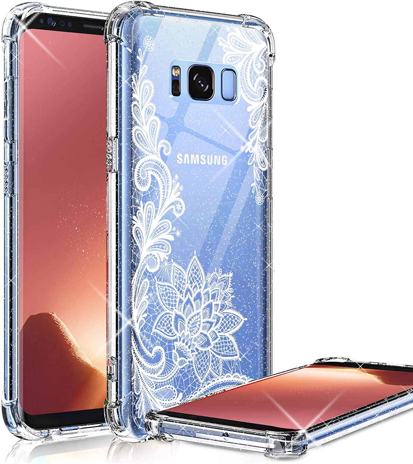 KIOMY Clear Glitter Case for Samsung Galaxy S8 Plus, Girls Women Bling Sparkle Shiny Luxury Case with Lace Flower Design Shockproof Bumper Protective Floral Cell Phone Back Cover Slim Fit Flexible