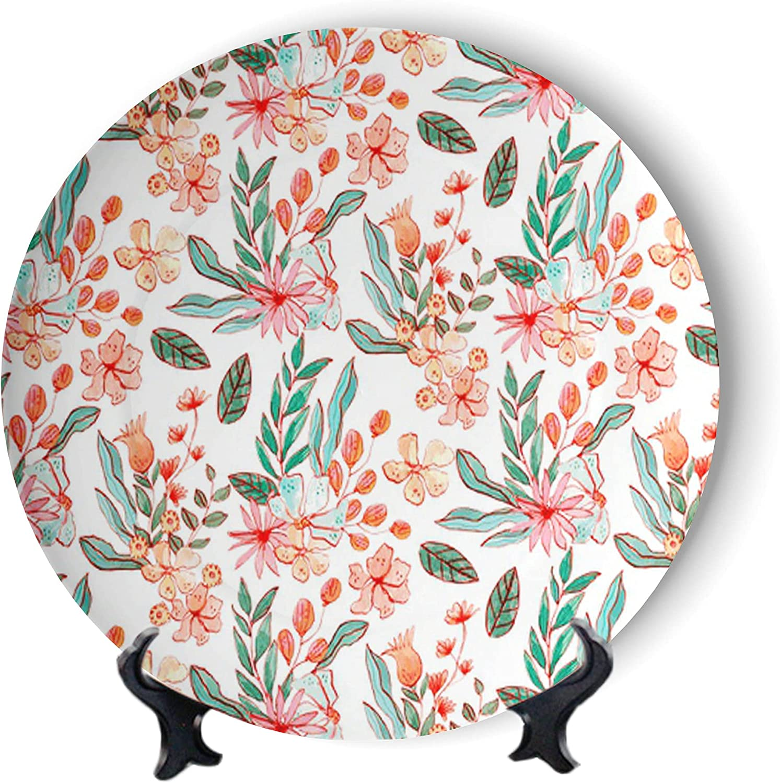 MOOMOO Pink Free Shipping Cheap Bargain Gift Floral Painting Decorative P Art Wall Plates Hanging Omaha Mall