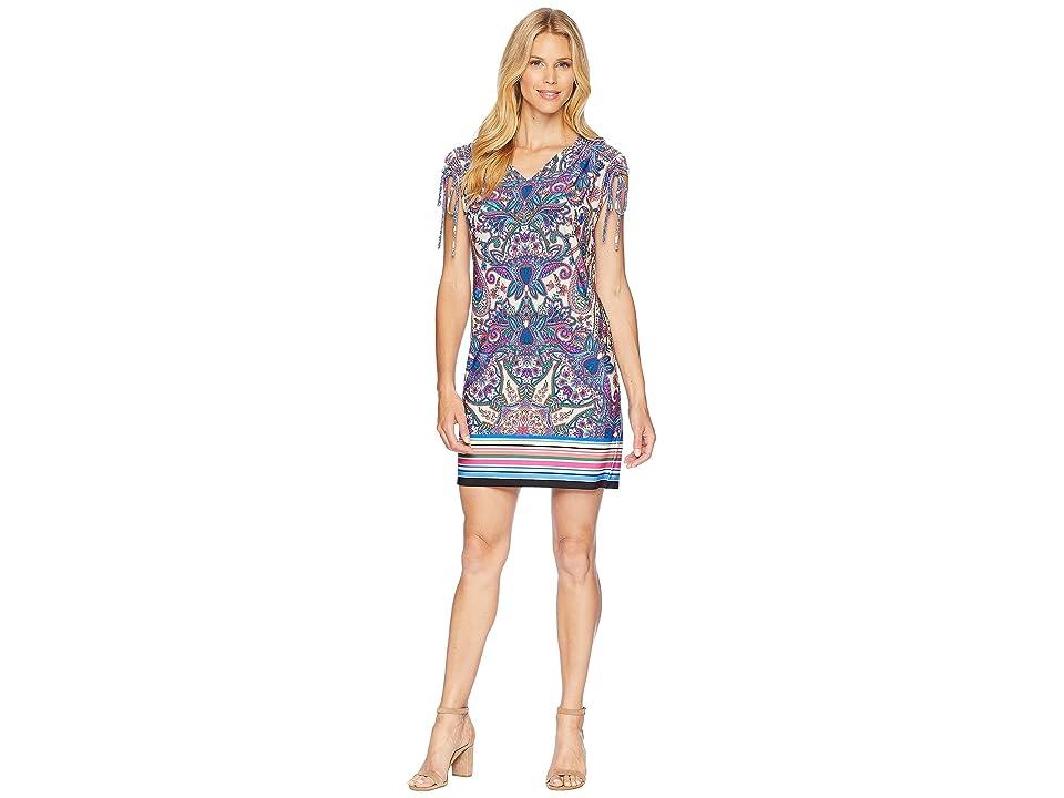 London Times Printed Matte Jersey Dress (Blue Multi) Women