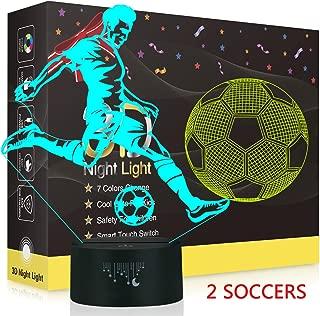 Soccer 3D Night Light,Metplus Kids Room Decor Bedside Lamp 7 Colors LED Illusion Table Desk Lamps USB Touch Sensor Nightlights Children Xmas Birthday Gift - 2 Acrylic Panels