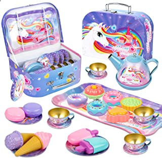 Noetoy Tea Set for Little Girls, 27 PCS Kids Tea Set Unicorn Castle Pretend Toy Tin Tea Set with Carrying Case and Food Sw...