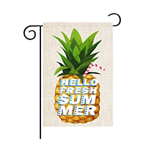 Hello Summer Watermelon Garden Flag Vertical Double Sided Burlap Beach Swimming Pool Farmhouse Outside Decorative Flag Decoration Patio Lawn Yard Home Decor 12x18 Inch