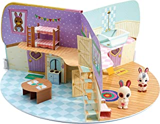 Fuzzikins Cottontail Cottage Playset - Creative Colouring Craft Set with Cute Bunny Family and Their House to Colour & Play. Washable Felt tip pens & Stickers Included