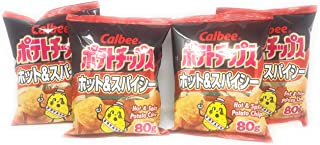 Calbee Hot & Spicy Potato Chips 80g, 4 Pack
