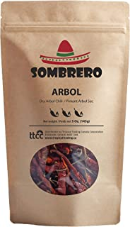 Dried Arbol Chili Peppers by Sombrero (Bird's peak or Rat's tail chili), 5.1 oz. Known as Mexico's hottest chili!
