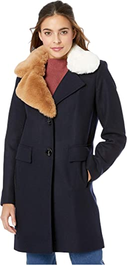 Asymmetrical Faux Fur Walker w/ Two-Tone Fur Collar