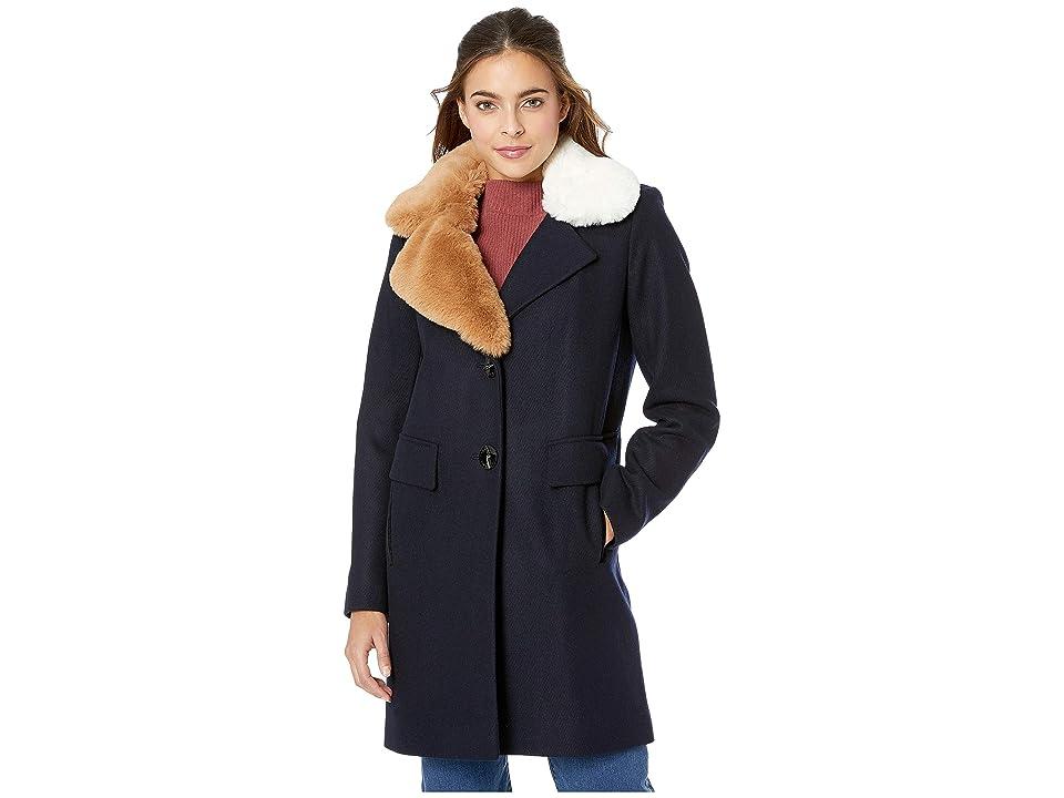Sam Edelman Asymmetrical Faux Fur Walker w/ Two-Tone Fur Collar (Navy) Women's Coat