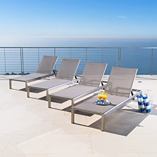 Crested Bay   Outdoor Aluminum Chaise Lounge Chair   Set of 4   in Grey