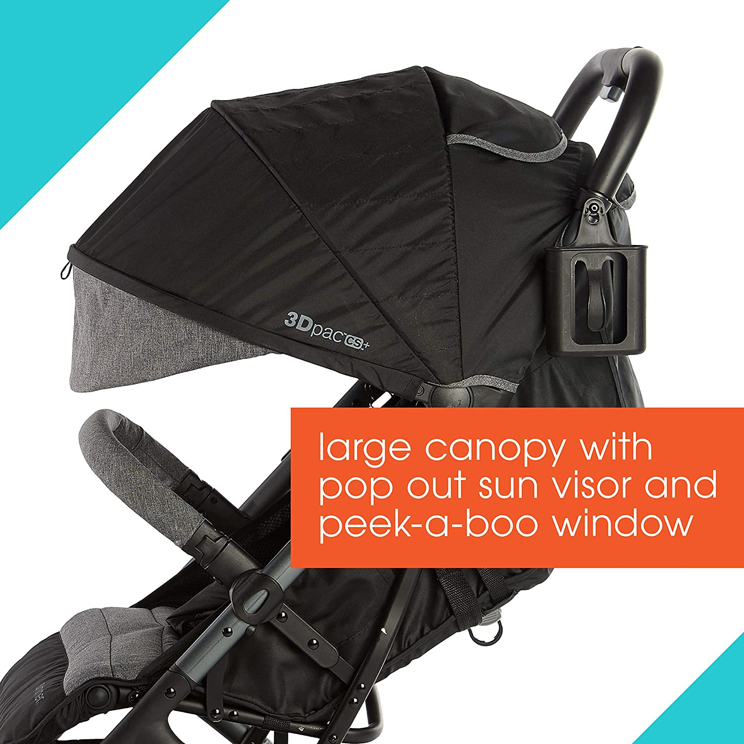 Summer 3Dpac CS+ Compact Fold Stroller, Black - Compact Car Seat Adaptable Baby Stroller - Lightweight Stroller with Convenient One-Hand Fold, Reclining Seat and Extra-Large Canopy