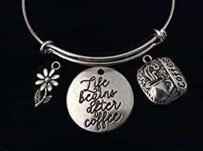 Coffee Lover Life Begins After Coffee Expandable Charm Bracelet Silver Wire Adjustable Bangle Gift Stacking Daisy Co-worker Boss Gift