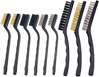 Sunmns Handle Stainless Steel Metal Wire Scratch Brush Set for Cleaning Welding Slag and Rust, 9 Pieces