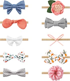 Zoe Deco Baby Girl Headbands, Newborn Hairbands w/Bows