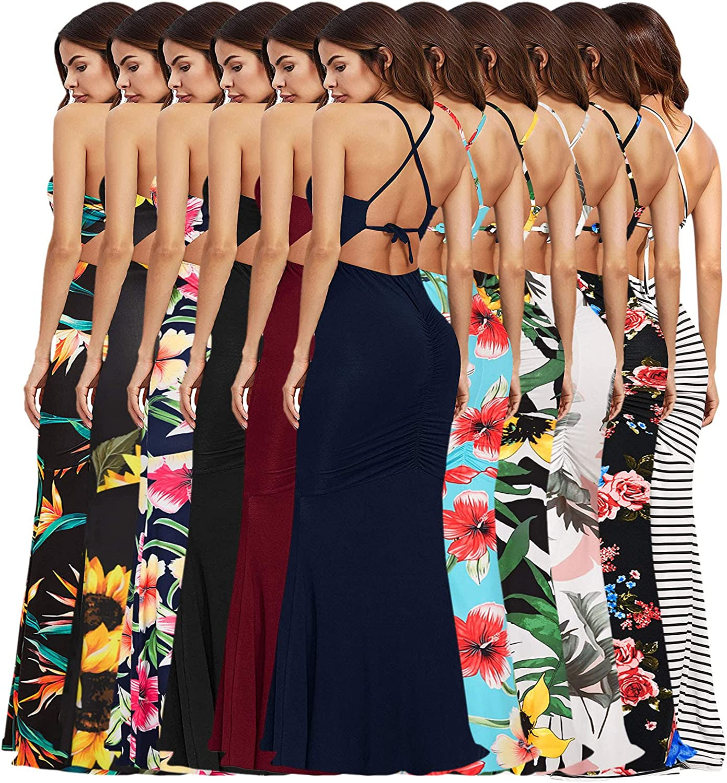 Strapless Mermaid Floor Length Halter Maxi Dress Women Wedding Ployester Bohemia Summer