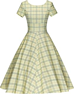 GownTown Women's 1950s Vintage Dresses Cap Sleeves Cocktail Stretchy Dresses with Pocket
