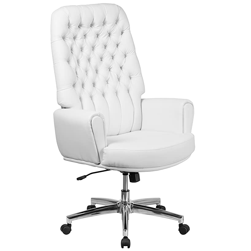 Flash Furniture High Back Traditional Tufted White Leather Executive Swivel Chair with Arms