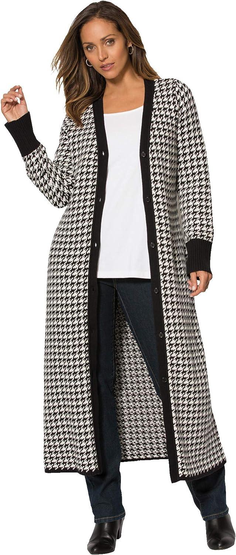 Jessica London Women's Plus Size Jacquard Duster Cardigan Sweater
