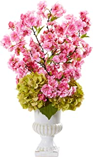 Nearly Natural 23in. Hydrangea and Cherry Blossom Artificial White Urn Silk Arrangements, Pink