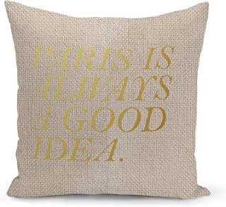 Paris Beige Linen Pillow with Metalic Gold Foil Print Paris is a good idea Couch Pillows