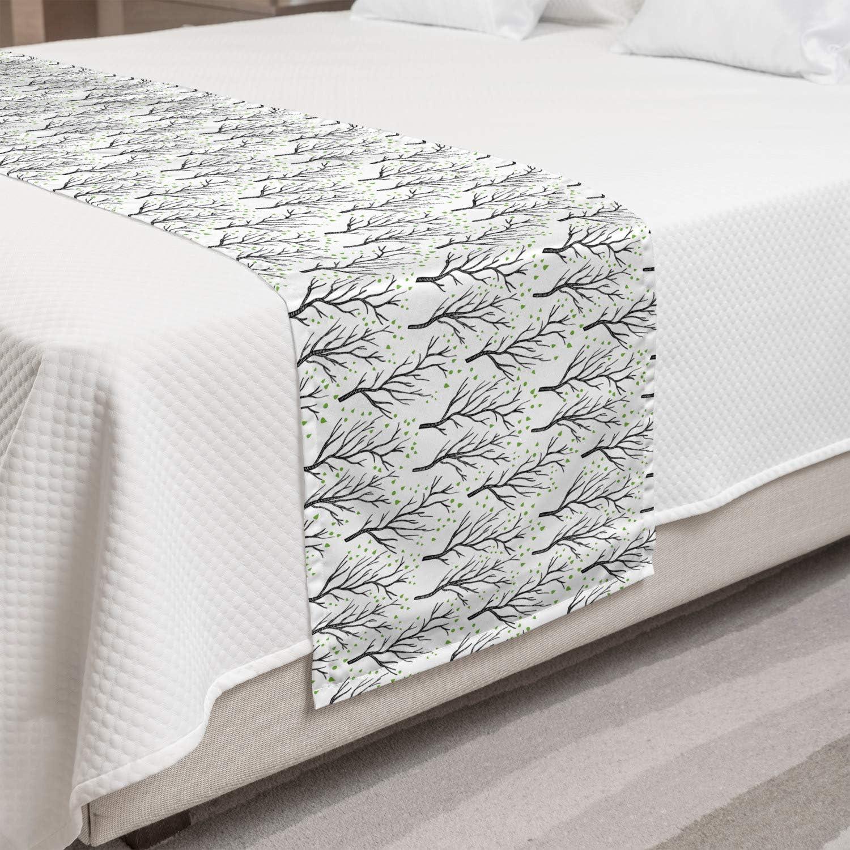Lunarable Aspen Tree Bed Runner Repetitive High material Patter Excellent Themed Garden