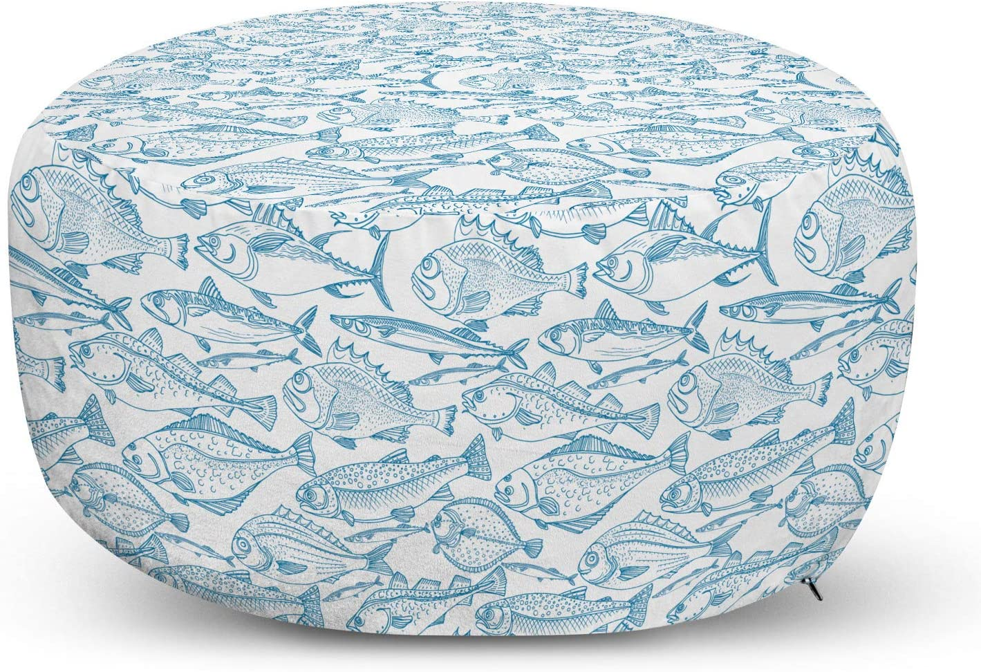 Lunarable Fish Pouf Cover Popular standard with Zipper Now on sale of Sketch Macke Cod Perch