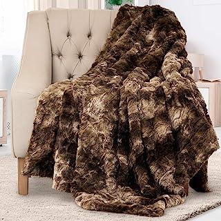 Everlasting Comfort Manta de piel sintética de lujo ultra suave y esponjosa manta de felpa para sofá cama y sala de esta...