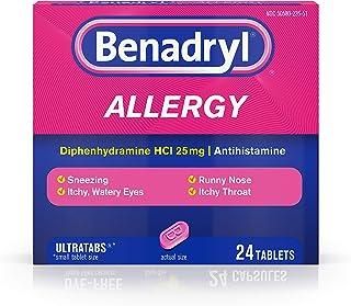 Benadryl Ultratabs Antihistamine Allergy Relief Tablets, Diphenhydramine HCl 25mg, 24 ct, Pack of 2
