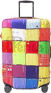 Periea Premium 3mm Elasticated Suitcase Luggage Cover - 38 Different Designs - Small, Medium or Large (Colourful Squares, Large)