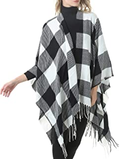 Zando Womens Tassel Plaid Shawls Printed Open Front Blanket Ponchos for Women Large Scarf Soft Blanket Shawls for Women