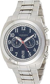 Akribos XXIV Men's Chronograph Watch - Sunburst Dial - Luminous Hands and Markers - Stainless Steel Bracelet
