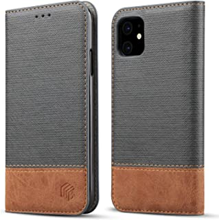 for iPhone 11 Wallet Case,WenBelle Blazers Series,Stand Feature,Double Layer Shock Absorbing Premium Soft PU Color Matching Leather Cover Flip Cases for Apple iPhone 11 (6.1 inch)(2019) (Grey)