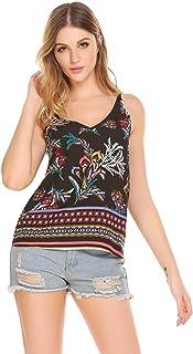 Zeagoo Womens V Neck Cami Tank Top Strap Sleeveless T Shirt Casual Loose Cotton Vest Blouse - S-XXL
