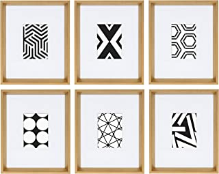 Kate and Laurel Calter 6 Framed Modern Black and White Geometric Abstract Art Prints, Gold