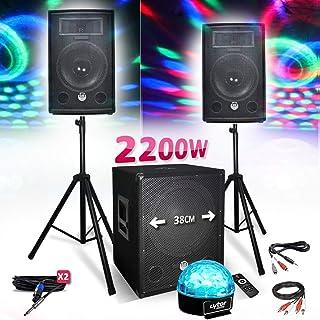 Kit PACK SONO BM SONIC 1512 2200W Enceintes - Subwoofer USB/BLUETOOTH - Pieds - Lumière Sixmagic