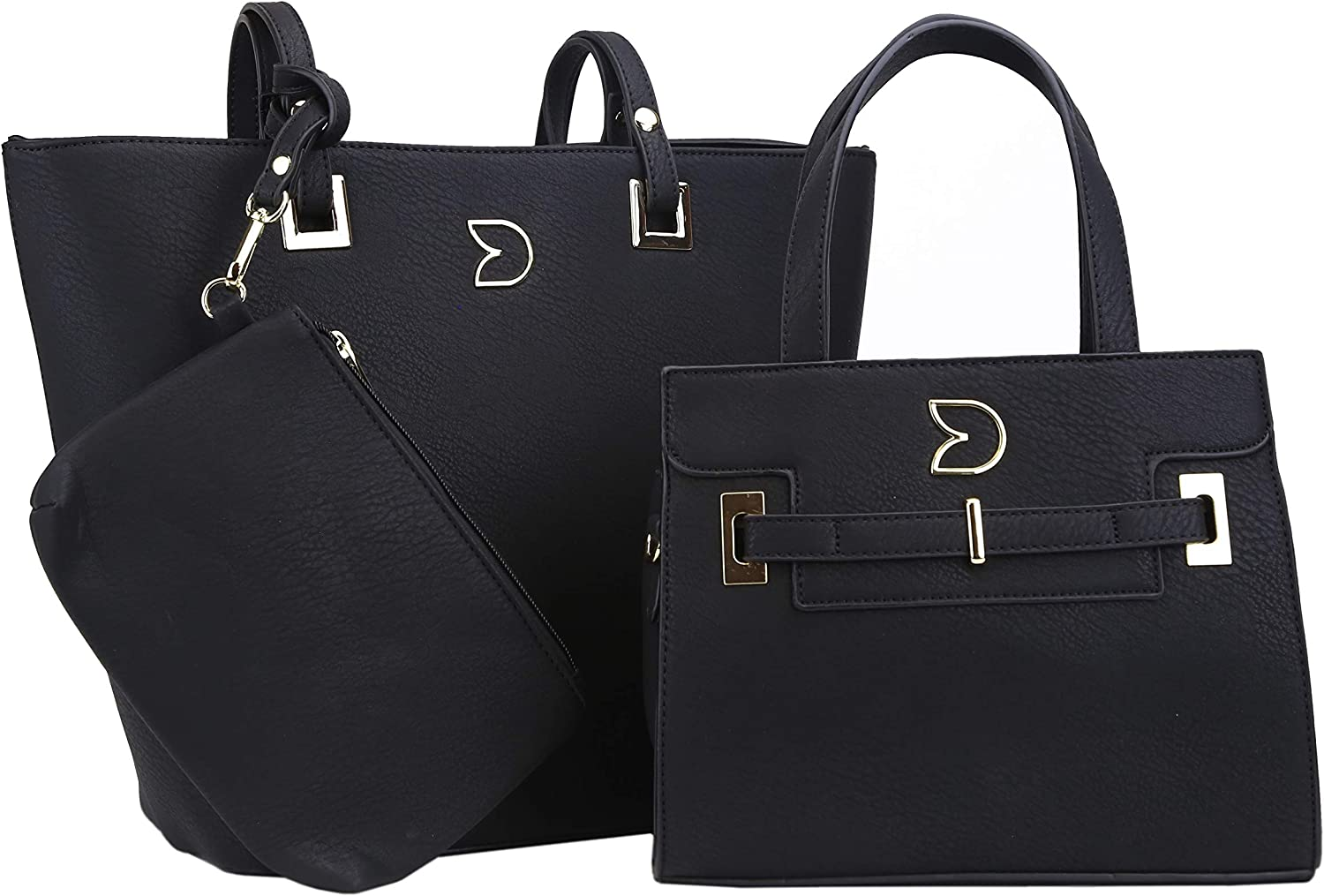 Darling's Classic Faux Leather Designer Carryall Tote - 3 Piece Shoulder Crossbody Clutch Bag Set - Large, Medium & Small