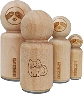 Wary Kitty Cat Rubber Stamp for Stamping Crafting Planners - 1/2 Inch Mini