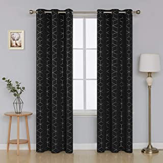 Deconovo Silver Diamond Foil Print Thermal Insulated Blackout Curtains Grommet Room Darkening Curtain for Living Room 42x95 Inch Black 2 Curtain Panels