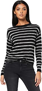 French Connection Women's Stripe Curved Hem Knit, Black/Grey