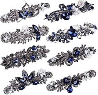 8 Pcs Crystal Hair Barrettes Rhinestones French Clips Flower Butterfly Hair Pins Vintage Spring Clips Fancy Hair Clip for Women
