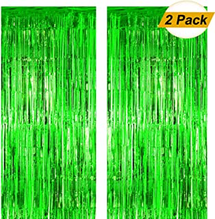 Fxozru Metallic Foil Fringe Curtain Green Backdrop 2pcs 8X 3ft for Baby Shower Photo Booth Jungle Dinosaur Jurassic Forest Hawaiian Party St Patrick Day Decorations