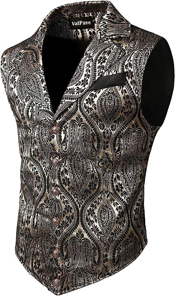 Men's Steampunk Vests, Waistcoats, Corsets VATPAVE Mens Victorian Suit Vest Steampunk Gothic Waistcoat  AT vintagedancer.com