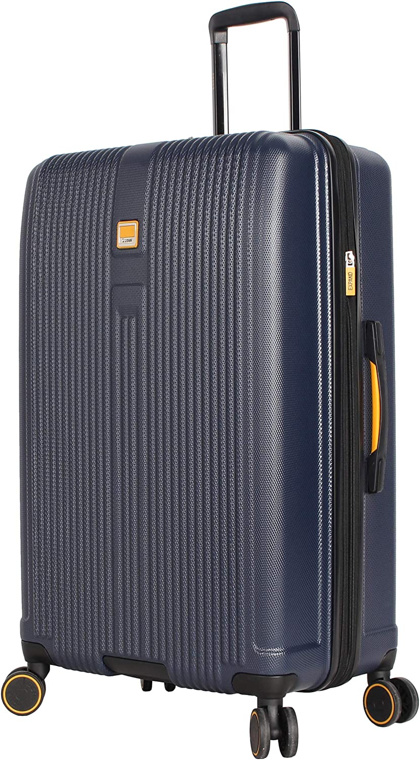 Expandable Scratch Resistant Aster Blue Lucas 3 Piece Luggage Set 27 Inch and 31 Inch Checked Bags With 8-Rolling Spinner Wheels ABS + PC Hard Case Suitcases Set Includes 20 Inch Carry on