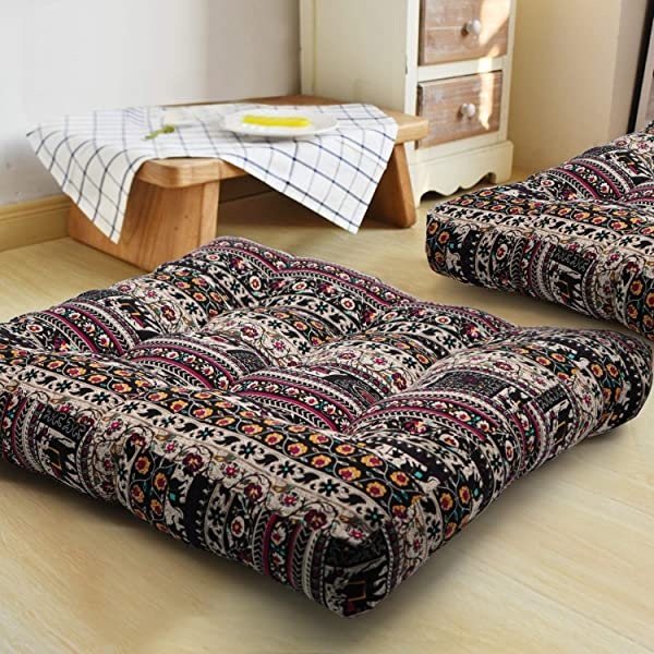 HIGOGOGO Bohemian Floor Cushion Square Meditation Pillow Mandala Floor Seat Cushion Cotton Linen Yoga Pillow Japanese Tatami Mat For Reading Nook Kids Playing Bay Window 22x22 Inch Boho Coffee